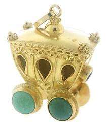 Very Cute Carriage Turquoise Charm