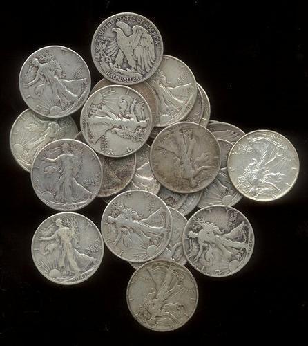 25 Assorted mixed date Walking Liberty Half Dollars