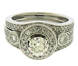 Sparkling Diamond in Halo Bridal w Bezel Sides