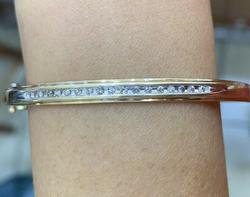Solid Yellow Gold & Diamond Bangle Bracelet