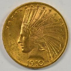 Choice BU 1910 US $10 Indian Gold Piece