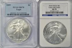 PCGS & NGC MS70 graded 2009 & 2010 $1 Silver Eagles