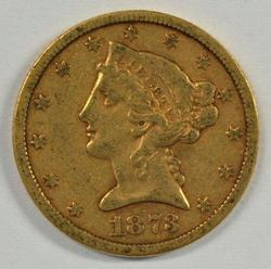 Very scarce key date 1873-S Closed '3' $5 Liberty Gold