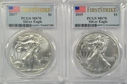 Flawless 2017 & 2019 First Strike $1 Eagles. PCGS MS70