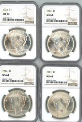 Wholesale dealer lot of 4 NGC MS64 1923 Peace Dollars