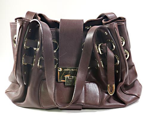 Jimmy Choo Chocolate Brown Leather Riki Hobo Bag
