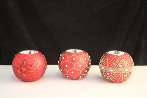 Beaded Votives Red - Set of 3