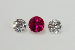 Natural Burmese Ruby & Diamond Pair