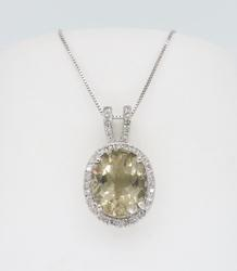 14K White Gold Quartz and Diamond Pendant Necklace