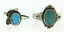 Lot of 2 Turquoise Rings in Sterling Silver