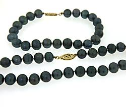 Black Fresh Water Pearl Necklace and Bracelet