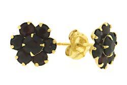 Pretty Garnet Cluster Earrings in 14kt
