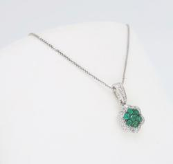Cluster Emerald and Diamond Necklace