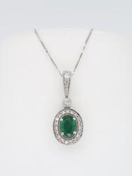 14K White Gold Emerald and Diamond Halo Necklace