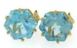 Gorgeous Hexagon Blue Topaz Earrings