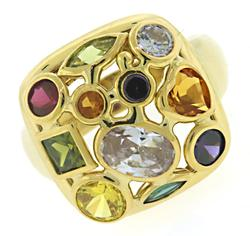 Pretty 18kt Multi Gemstone Cluster Ring