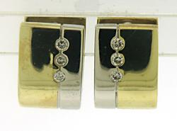 Simple two tone Gold Diamond Huggies Earrings