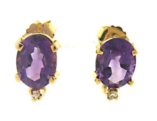 Gorgeous Amethyst and Diamond Stud Earrings