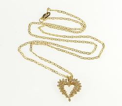 14K Yellow Gold 0.50 Ctw Diamond Encrusted Heart Anchor Chain Necklace