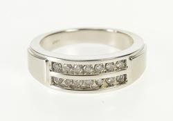 10K White Gold 0.42 Ctw Tiered Diamond Men's Wedding Band Ring