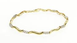10K Yellow Gold 0.50 Ctw Diamond Wavy Curvy Bar Link Tennis Bracelet