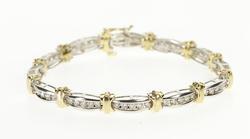 10K Yellow Gold 1.80 Ctw Diamond Two Tone Channel Tennis Bracelet