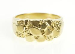 14K Yellow Gold Textured Raw Nugget Pattern Design Band Ring