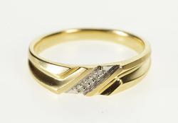 10K Yellow Gold Men's Diamond Channel Wedding Band Ring
