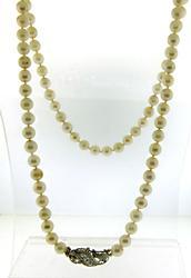 Vintage Pearl Necklace w Fancy Clasp