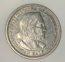 1893 SILVER COLOMBIAN HALF DOLLAR