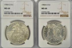 2 Nearly Gem BU 1904-O Morgan Silver Dollars. NGC MS64