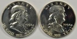 2 nice Cameo Proof 1954 Franklin Half Dollars