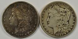 Sharp scarce 1882-CC and 1891-CC Morgan Silver Dollars