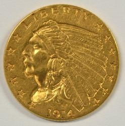 Key date 1914 US $2.50 Indian Gold Piece. Nice