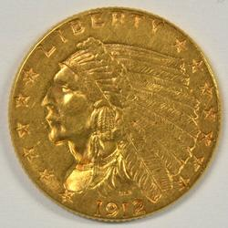 Lustrous 1912 US $2.50 Indian Gold Piece. Nice