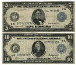 $5 & $10 Series of 1914 Large Size Federal Res Notes
