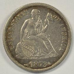 Scarce high grade 1873 with Arrows Liberty Seated Dime