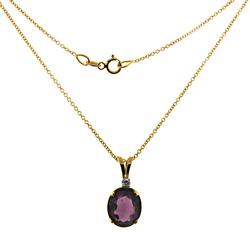 Pretty Oval Amethyst and Diamond Accent Necklace
