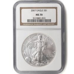 2007 W Silver Eagle NGC MS70 Holdered