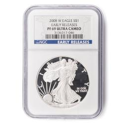 2008 W Proof69 Ultra Cameo Early Release Silver Eagle