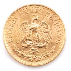 1945 Frosty Spotless BU Mexico 2 Peso Gold