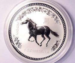 Better Date 2002 Lunar I Silver Austrailia Horse, 1oz