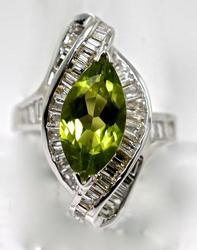 Peridot and Diamond 18K Ring