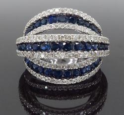 Three Row Sapphire & Diamond Ring