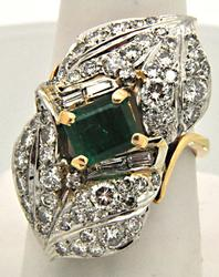 VINTAGE 14K YELLOW GOLD AND PATINUM 1.75 CARAT EMERALD