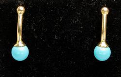 Unique Blue Bead Drop Earrings in Gold