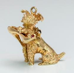 Cute Dog Holding Shoe Charm, 14KT