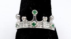 14KT Crown Ring with Diamonds & Emeralds