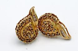 Classy Diamond Droplet Earrings in Gold