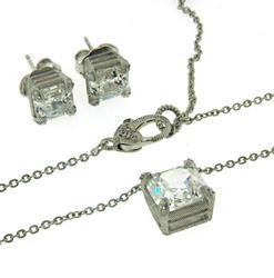 Judith Ripka Asscher Necklace and Earrings Set